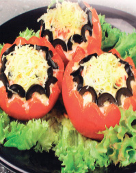 Tomatoes with white cheese